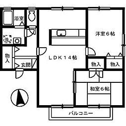 コスモタウン B[B103号室]の間取り