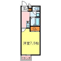 兵庫県神戸市須磨区車字口中ノ尾の賃貸アパートの間取り