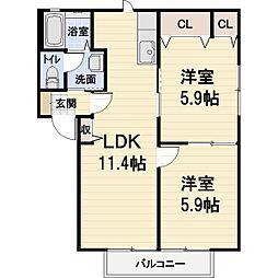 滋賀県彦根市肥田町の賃貸アパートの間取り