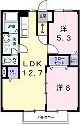 兵庫県姫路市北平野南の町の賃貸アパートの間取り
