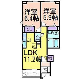 コンフォートF棟[1階]の間取り