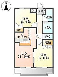ヒルズ宮ノ下B[2階]の間取り
