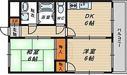 Osaka Metro今里筋線 鴫野駅 徒歩10分の賃貸マンション 6階2DKの間取り