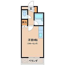 ガーデンハイム清武 3階ワンルームの間取り