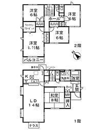 [一戸建] 神奈川県横浜市青葉区みすずが丘 の賃貸【/】の間取り