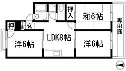 兵庫県川西市東多田1丁目の賃貸アパートの間取り