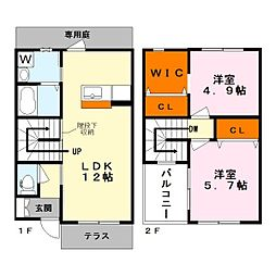 [タウンハウス] 滋賀県栗東市林 の賃貸【滋賀県 / 栗東市】の間取り