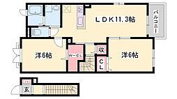 ラッフィナート・リアンB棟 2階2LDKの間取り