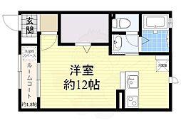 JR東海道・山陽本線 東淀川駅 徒歩7分の賃貸アパート 1階ワンルームの間取り