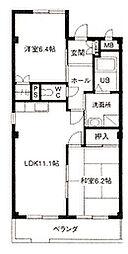 WAVE HOUSE II[102号室]の間取り