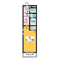 keiII 2階1Kの間取り