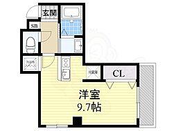 CEREZA都島 9階ワンルームの間取り