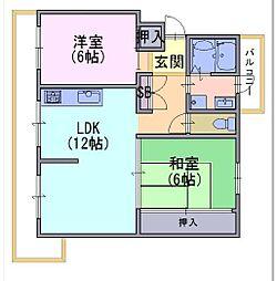円明寺ヶ丘団地L棟104号[104号室]の間取り