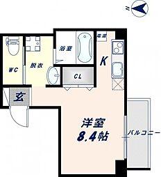 みおつくし高井田 6階1Kの間取り