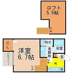 愛知県名古屋市熱田区西野町2の賃貸アパートの間取り
