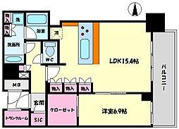 ブランズタワー梅田North(ブランズタワー梅田ノース) 37階1LDKの間取り
