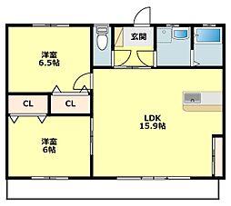愛知県岡崎市舳越町字地蔵の賃貸マンションの間取り