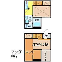 愛知県名古屋市中村区上石川町3丁目の賃貸アパートの間取り
