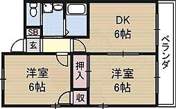メゾン・ノゾミ 3階2DKの間取り