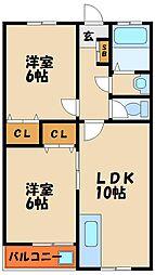 マンション若林[4階]の間取り