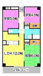 埼玉県朝霞市根岸台6丁目の賃貸マンションの間取り