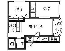 北海道札幌市清田区平岡一条2丁目の賃貸マンションの間取り