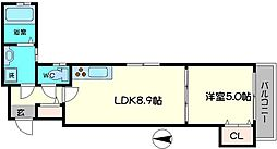 クリエオーレ上野口II[2階]の間取り