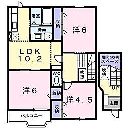 クレストB[1階]の間取り