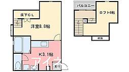 JR筑肥線 姪浜駅 徒歩10分の賃貸アパート 1階1SKの間取り