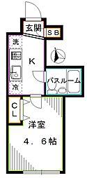 JR総武線 東中野駅 徒歩7分の賃貸マンション 2階1Kの間取り