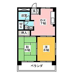 エクセレント野間[1階]の間取り