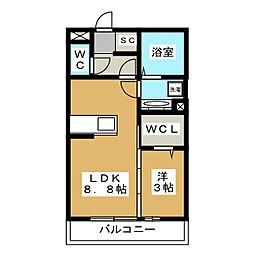 (仮)神明町D-room 2階1LDKの間取り
