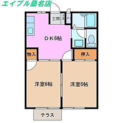 三重県桑名市大字大仲新田の賃貸アパートの間取り