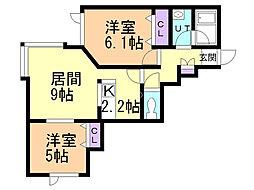 メゾン・プロヴァンスII 1階2LDKの間取り