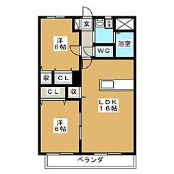 Y.A.F.福富東マンション[3階]の間取り