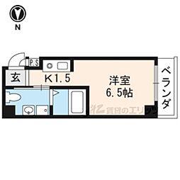京福電気鉄道北野線 北野白梅町駅 徒歩20分の賃貸マンション 4階1Kの間取り