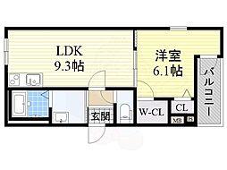 南海高野線 百舌鳥八幡駅 徒歩2分の賃貸アパート 1階1LDKの間取り