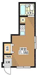 東京都目黒区八雲1丁目の賃貸アパートの間取り