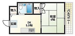大阪府大阪市平野区長吉出戸8丁目の賃貸マンションの間取り