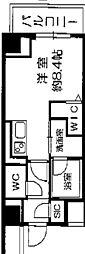 Osaka Metro長堀鶴見緑地線 西長堀駅 徒歩3分の賃貸マンション 3階ワンルームの間取り
