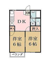 埼玉県草加市中根2丁目の賃貸アパートの間取り