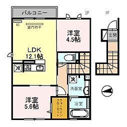 大阪府八尾市東太子1丁目の賃貸アパートの間取り