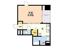 (仮)平尾1丁目マンション 4階1Kの間取り