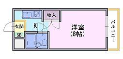 ラ・フィーヌ永田[206号室]の間取り