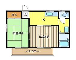 ロイヤルハイツC棟[2階]の間取り