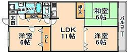 兵庫県伊丹市野間北3丁目の賃貸マンションの間取り