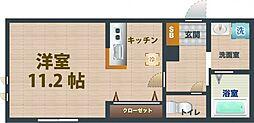 JR中央線 荻窪駅 徒歩9分の賃貸アパート 2階ワンルームの間取り