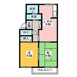 コーポ鶴里[2階]の間取り