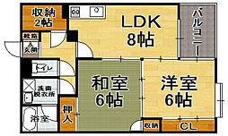 福岡県福岡市博多区東比恵3丁目の賃貸マンションの間取り