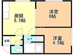 真田マンション 2階2LDKの間取り
